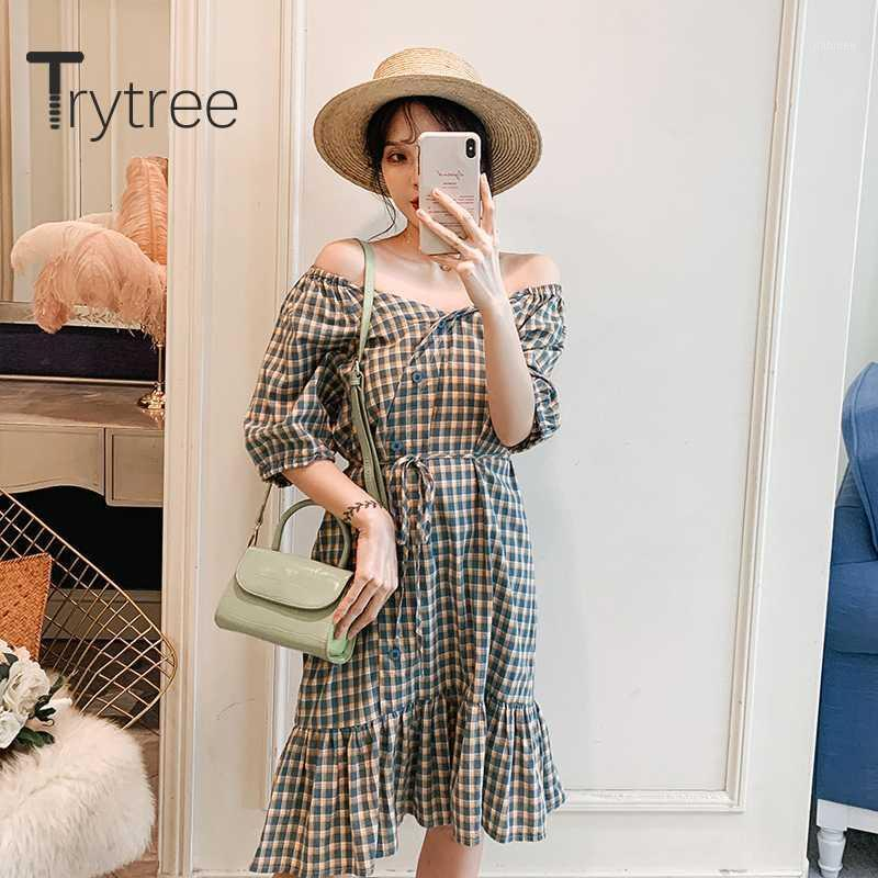 Trytree 2020 verão mulher casual vestido v-pescoço verde xadrez verde Botão de vestido Botão Bordilhões Moda Elegante Joelho-Comprimento1