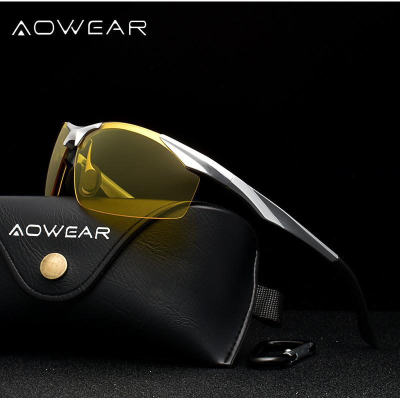 Aowear Männer polarisierte Nachtsicht-Brillen für Driving Goggles Aluminium Gelb-Sonnenbrille-Männer Qualitäts-Treiber Brillen