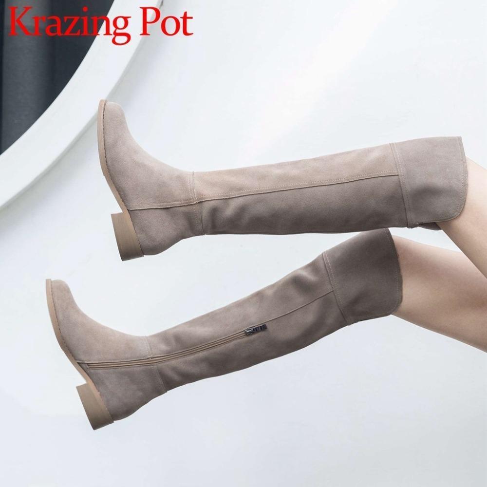 High Street Fashion Solid Zip Muslo de cuero genuino Muslo Botas altas Toe Redondo Tacones bajos Roma Elegante hembra Over-the-Knee Boots L51 201105