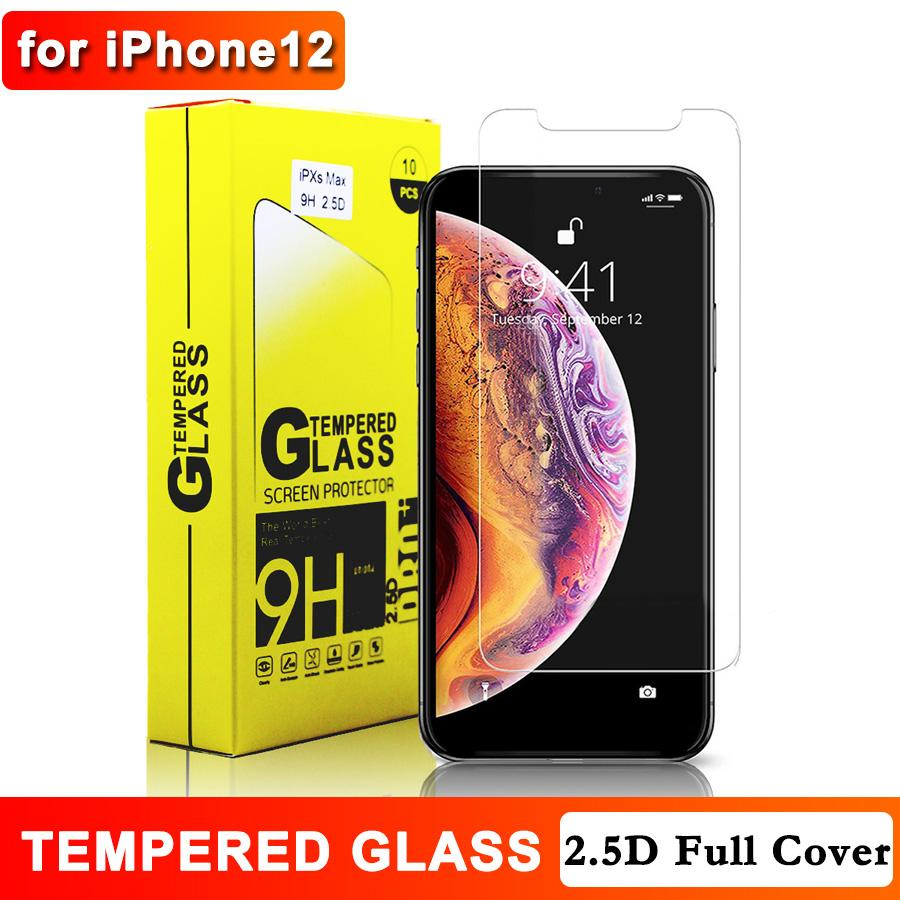 2.5D Tempered Glass for iPhone 12 XR 11 11 Pro Max XS MAX 8 7 7+ 8+ 6s 6+ 9H Anti-Scratch Anit-fingerprint Screen Protector with Retail Box