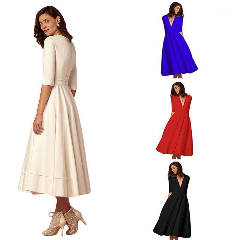 Damen High XXXL Langes Kleid Weiß Rot Herbst Lange Bohemian Maxi A-Linie Kleid Für Damen Elegante Party Weibliche HO8260251