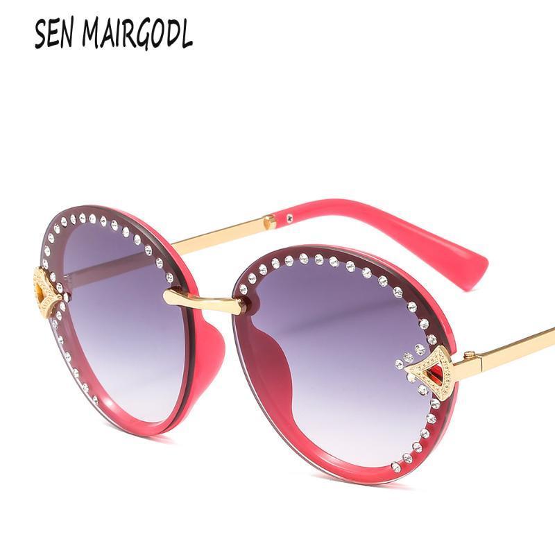 Солнцезащитные очки Старинные безмасштабные алмазные Солнцезащитные очки Женщины Мужчины Бренд Дизайн Роскошный модный тенденция Градиент Lunette de Soleil