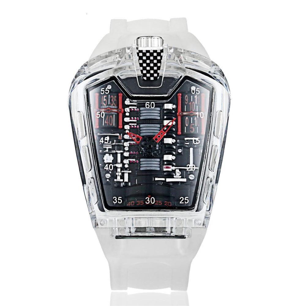 Moda Hombre tendencia de la personalidad clásico reloj de cuarzo de lujo de carreras gratis correa de silicona Reloj transparente movemen Relogio
