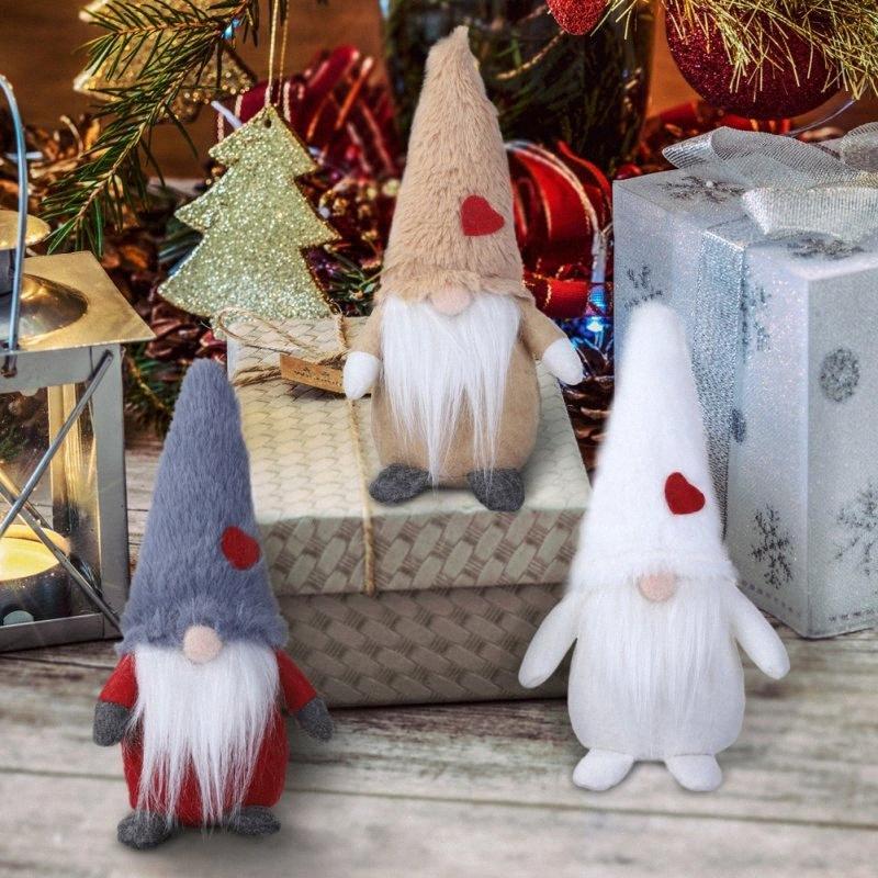3 Colore Bambola di Natale Babbo Gnome con cappello Alto e Amore-cuore Segno di Natale Desktop Ornamento Decorazione qgV9 #
