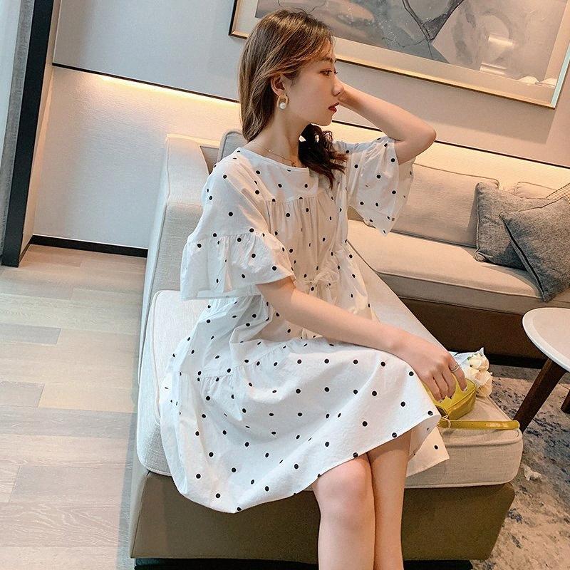 0823# Maternity Dress Summer Dot O Neck Cotton Short Sleeve Loose Stylish Dress for Pregnant Women Mom FQaQ#