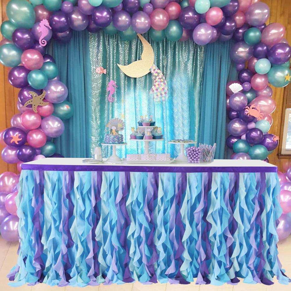 Runder Tisch Röcke für Hochzeitsdekor Tüll Tutu Bankett Tisch Rock Meerjungfrau Geburtstag Party Dekor für Kinder Tuch Tisch Sockelling Y200421