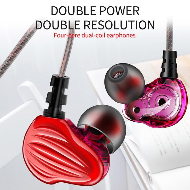 F6 Двойные динамические наушники 3.5 Двойной драйвер Drive Super Bass с микрофоном стереоактивных наушников Auricales для