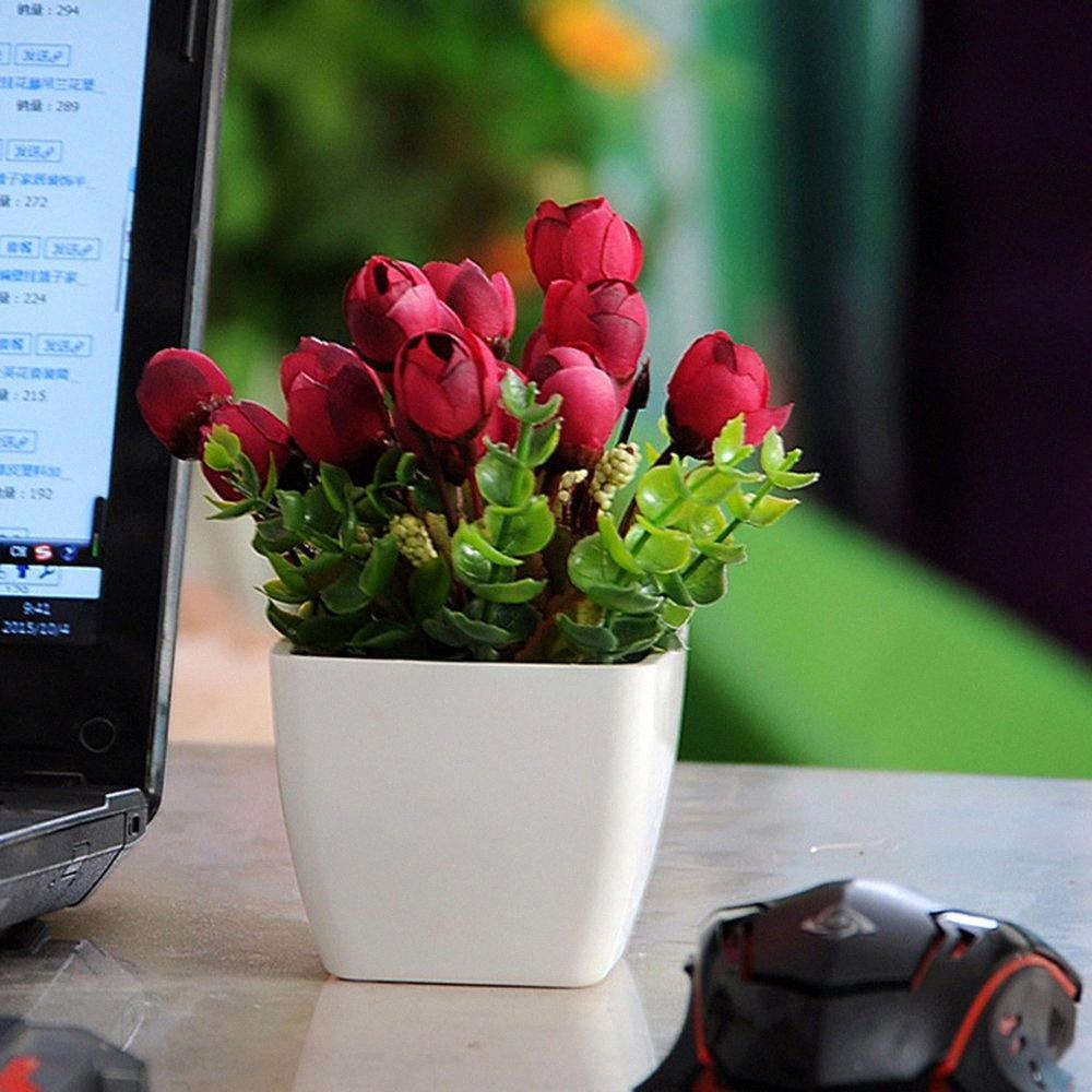 Simulación Conjunto de la flor de la sala Mini decoración de la decoración del hogar de flores de plástico Tabla Mesa de pequeño bonsai Tiesto beKD #