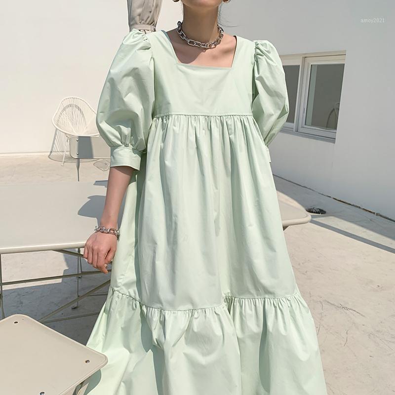 2020 Nuevas mujeres de verano vintage suelta cintura alta cintura delgada delgada elegante collar cuadrada manga de hojaldre maxi vestido CA1571