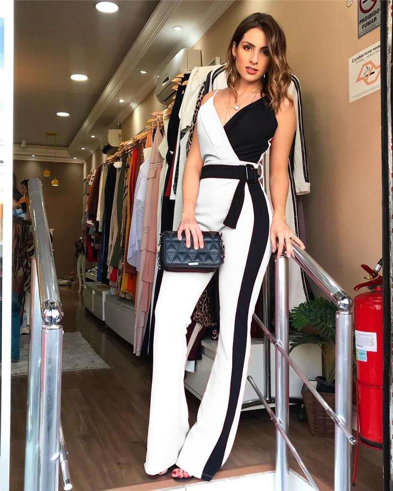 Moda Kadın Kasetli tulum Casual Vneck Çizgili Baskılı Bayan Tulumlar Yaz Tasarımcı Kolsuz Gevşek Bayan Giyim