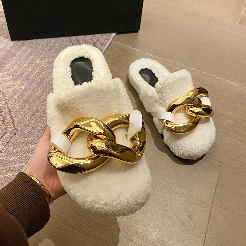 Weibate Marke Design Frauen Slipper Mode Gold Kette Slip auf Maultieren Schuhe Winter Warm Lambswool Slides Casual flacher Flip Flop F1224