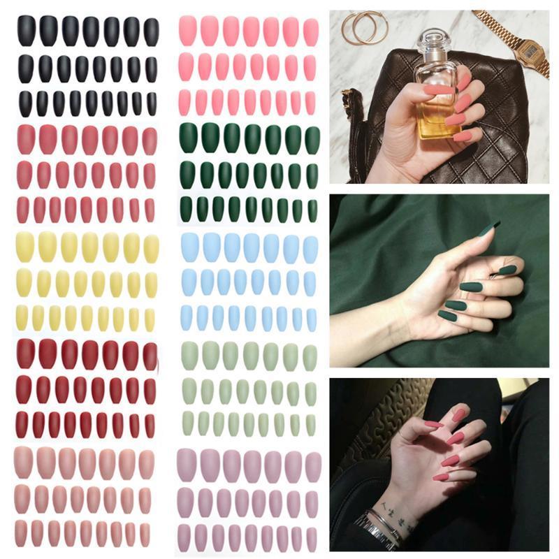 24pcs / Set Unghie finte per unghie figurabile rimovibile copertura piena pressa artificiale su nail false nail art tips accessori manicure