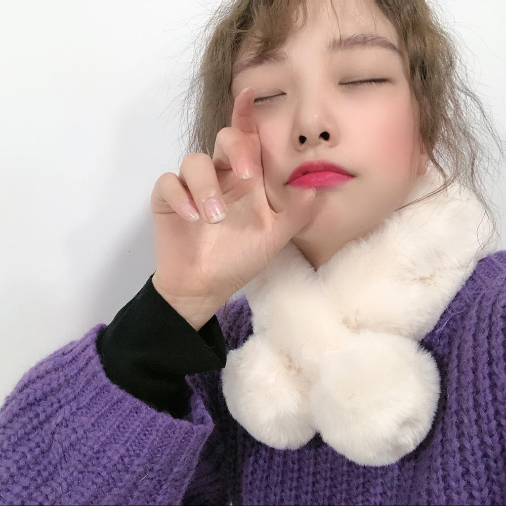75% de descuento en versión coreana de lana imitación piel rex conejo pelo cálido bufanda femenino otoño invierno estudiantes adultos niños moda niños