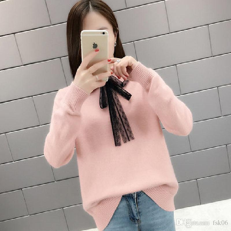 Lucyever koreanische Spitze-Frauen-Pullover-Strickjacke Mode Herbst bowknot Pullover Top-beiläufige lose Winter-Bluse Pullover Femme 2020