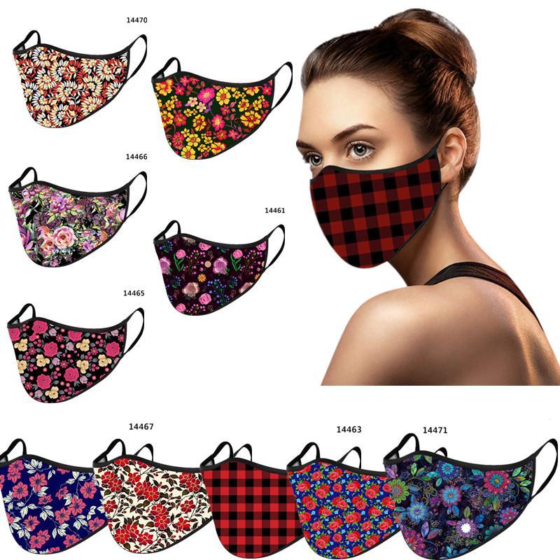 Unisex Noel Cadılar Bayramı Maskeleri Kadınlar Erkek Çiçekli Moda Yüz Yeniden kullanılabilir Ekose Örgü Facemask Çift Katmanlar Yıkanabilir KKA1653 Maske