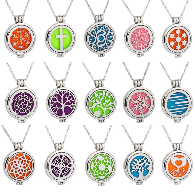 Locket Necklace essential oil diffuser Necklace With Felt Pads alloy Pattern Tree of Life Pendant Oils Essential Diffuser Necklaces