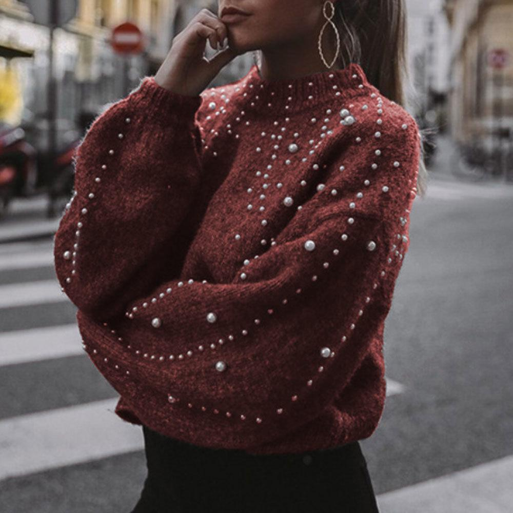Pull femme encolure ras du cou lâche manches épaisse aiguille automne cou hiver rond de vrac perles Vêtements pour femmes de
