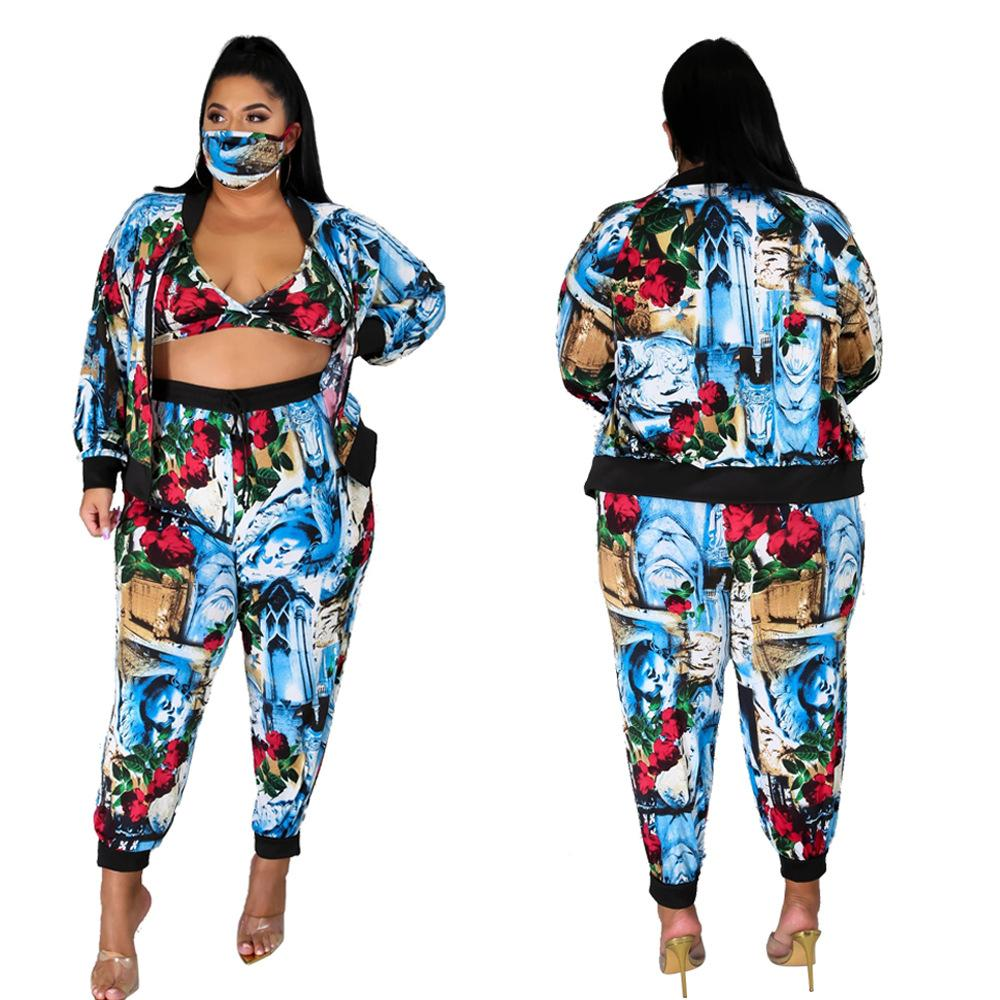 بالإضافة إلى نمط غير منتظم للمرأة Outsuits عارضة فضفاض معاطف النساء الملابس 4 قطع مجموعات الأزياء الساخن بيع الملابس