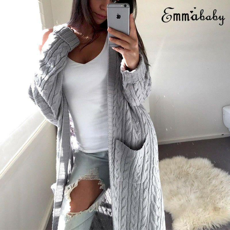 Moda Kadınlar Baggy Uzun Kollu Hırka Ceket Gevşek Tops Bayanlar Tıknaz Örme Kazak Jumper Bir Boyut Ceket Dış Giyim Y200720