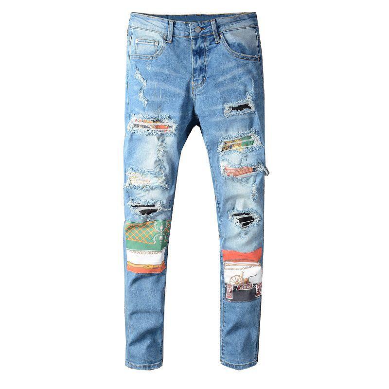 Venda quente dos homens jeans novos moda masculina estilista preto jeans azul calças de calças de calças apertas danificadas estiramento fino encaixar calças hip-hop
