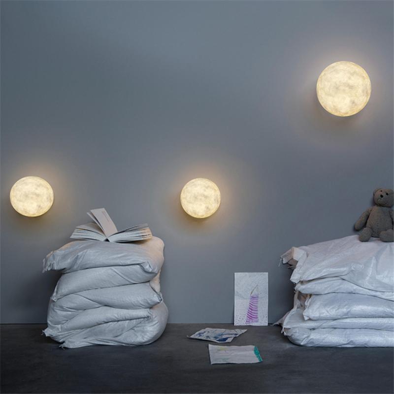 Настенная лампа Nordic Resin Moon Lams Lams Гостиная Фон Декоративное исследование Спальня Прикроватная атлетика Освещение Освещение Светодиодное освещение