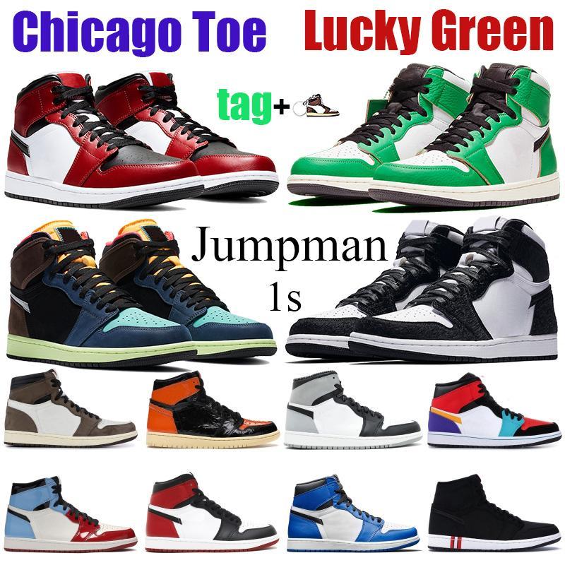 Новый 1S 1 Мужчины баскетбол обувь High Лаки Pine Green Jumpman Twist Черный Фиолетовый белый Чикаго Royal схождение Obsidian UNC Патентный Идущие тапки