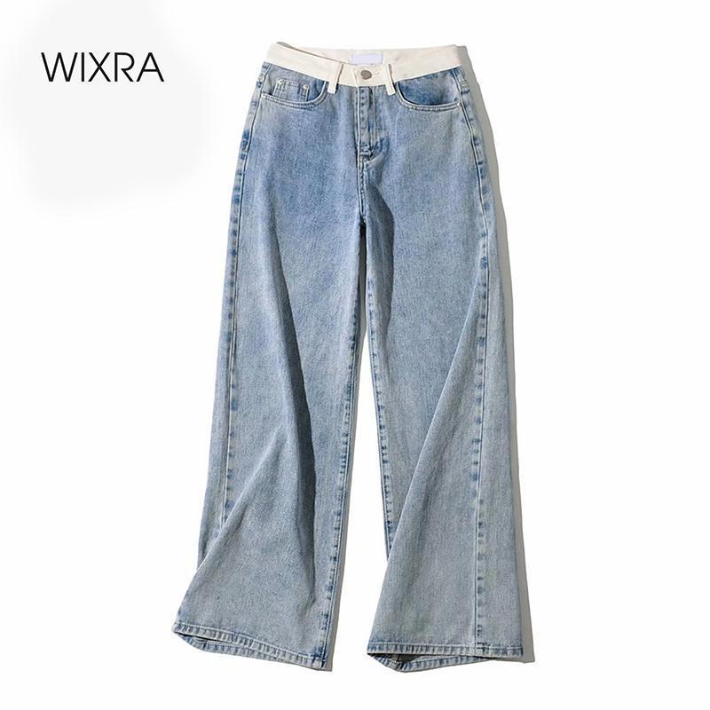 Wixra Frauen Demin Hosen Design Patchwork Weites Bein gerade Jeans der Frauen-Straßen-Art-Knopf-Reißverschluss-Dame-Frühlings-Herbst