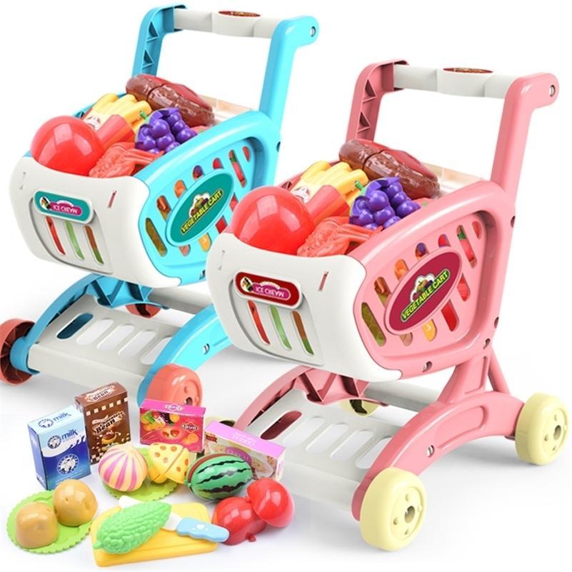 Kindersimulation Einkaufswagen Trolley Spielzeug Schneiden Früchte und Gemüse Supermarkt Shopping Kunststoff Spiel Haus Spielzeug Set LJ201211