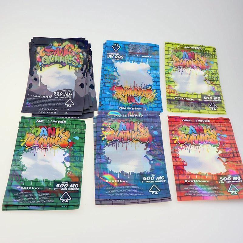 Dank Gummies Sacs 500mg Lock Serrure Zip Edibles Packaging Packaging Worms Bears Candy Gummy Sac Fleur Dry Syd Swey
