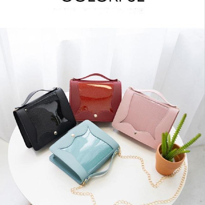2019 New Women Cross Colly Jelly Fashion Lady Bag Bag Small Bling PVC Cadena transparente Messenger Flap Bolsos de las señoras