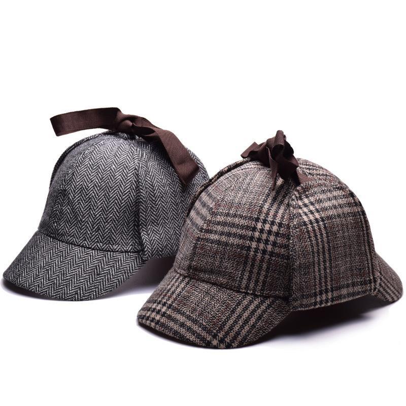 Hohe Qualität Cosplay Cap Detektiv Sherlock Holmes Deerstager Hut Graue Tassen Neue Barets Cap Vestidos Zwei Rempel Deerstager Hut 201106
