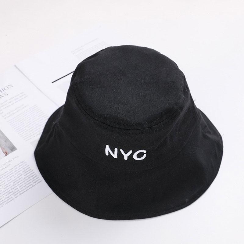 Summer cap Men Women Outdoor Beach sun hat fashion panama Bucket hat Flat top Fishing embroidery letter Harajuku Fisherman1