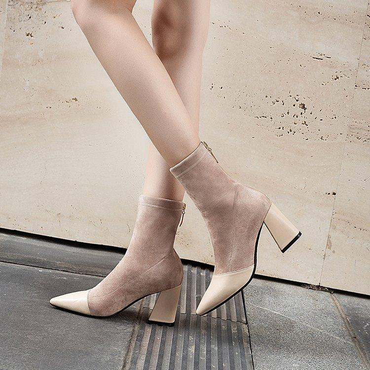 Fashion Elastic Sock Ankle Boots Chunky High Heels Stretch Women Autumn Sexy Booties Pointed Toe Women Pumps Boots Woman