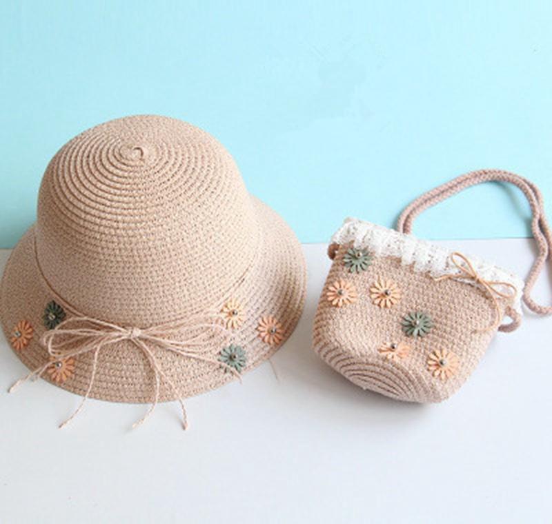 Babymädchen Strohhut Sommer Strand Atmungsaktive breite Krempe Hüte Bogen Sonnencreme Stroh Flower Cap und jllqtx yy_dhhome