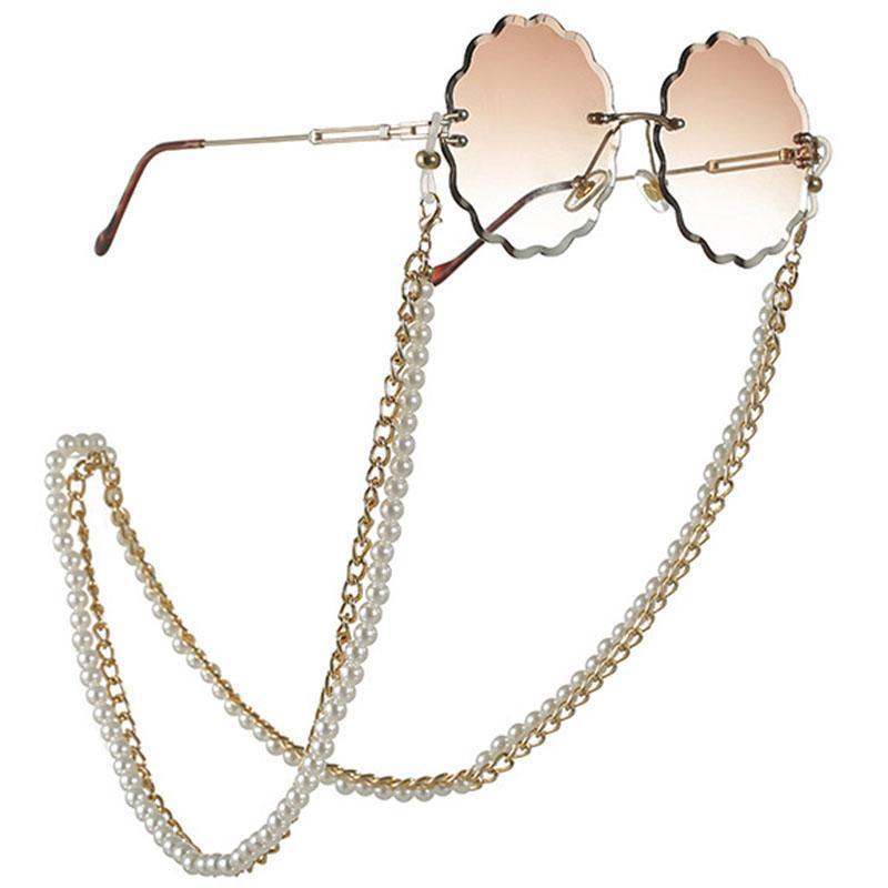 وصول جديدة لجميع الأغراض سلسلة نظارات مع سلاسل المشبك جراد البحر المزدوج تصميم المعادن واللؤلؤ الاصطناعي مزدوجة على الفم قناع