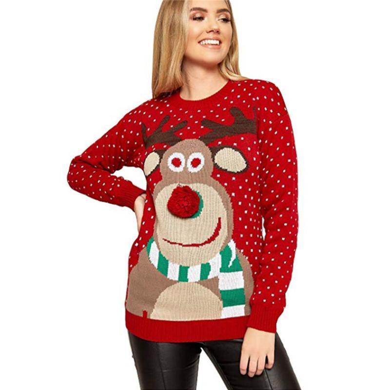 Las mujeres suéter de Navidad ciervos feo suéter caliente de la capa suelta de punto de manga larga suéter de las muchachas de Navidad Jumper blusa de la tapa de invierno
