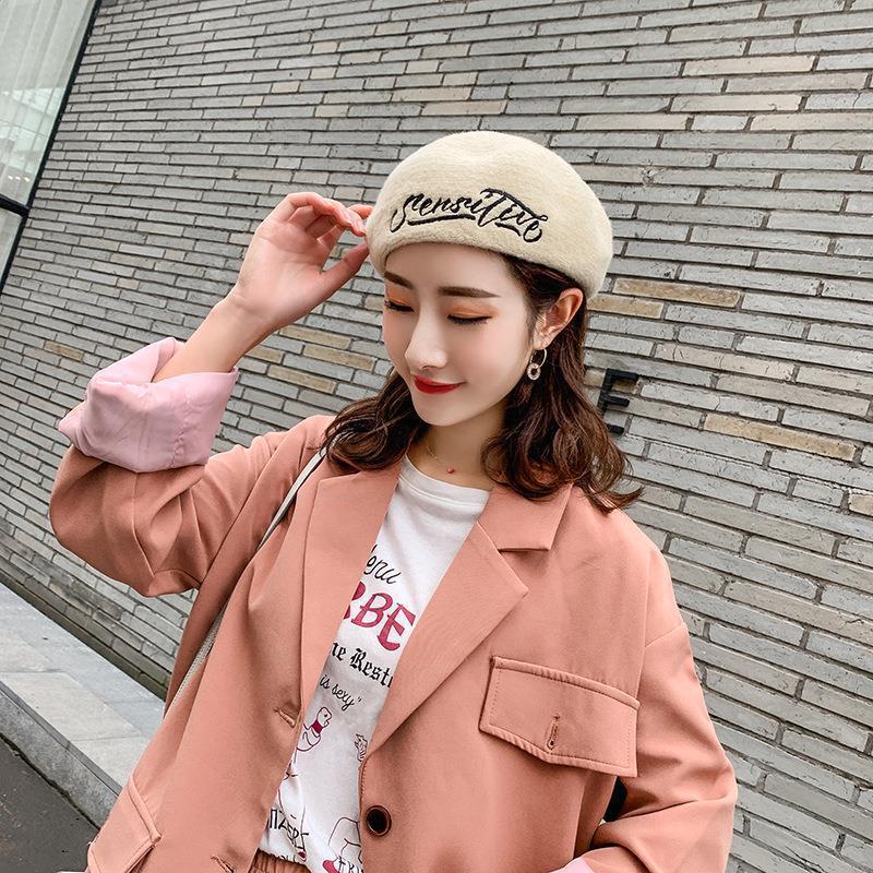 Çin Tarzı Kadınlar Şapka Harf Nakış Yün Malzeme Lady Sonbahar Kış Vintage Bereliler Şapka Kabak Kadın Bonnet Cap Isınma