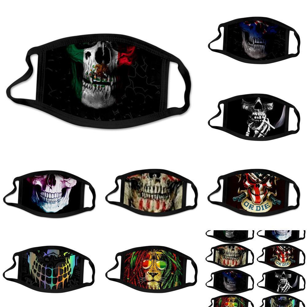 máscara de Halloween para adultos cráneo negro de la manera cabeza en 3D de algodón lavables impresión digital a prueba de polvo y neblina hombres y mujeres máscara de tela