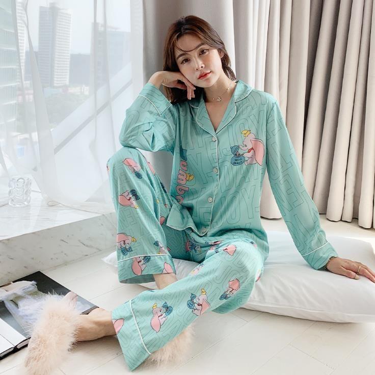 Fashion Print Coton Sleepwear Silk Silk Femmes Ensemble Spring Automne Femme Nightwear Nightwear Pyjamas Home Suit Nouveau Pajama Femme