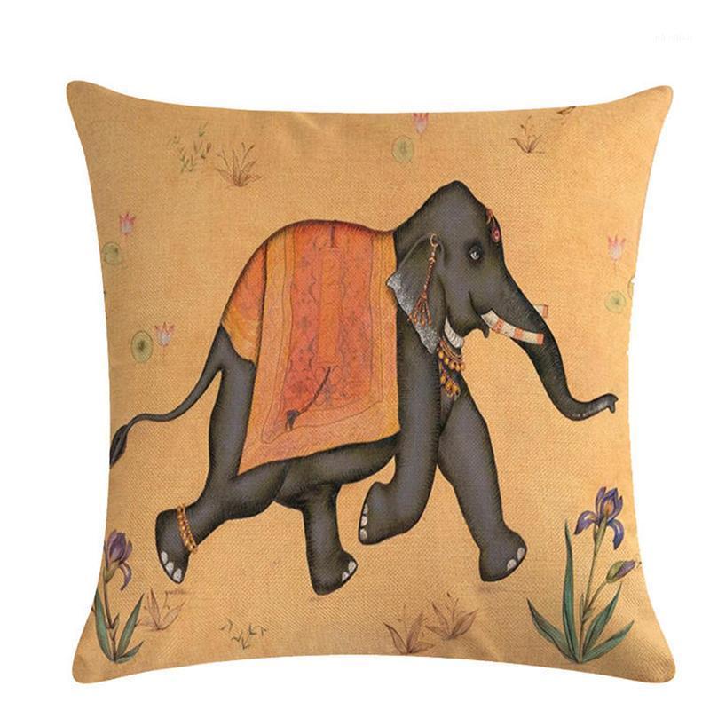 Nordic Stil Vahşi Hayvanlar Dekoratif Yastık Kapakları 45 * 45 CM Vintage Keten Atmak Yastık Kapak Kanepe Kanepe Sandalye Koltuk Bed1
