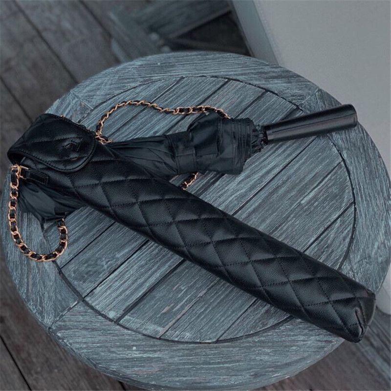 High-end Sun Umbrella Sun And UV Protection Vinyl Umbrella With Small Leather Valentine Gift Black Diamond Check Bag Umbrella