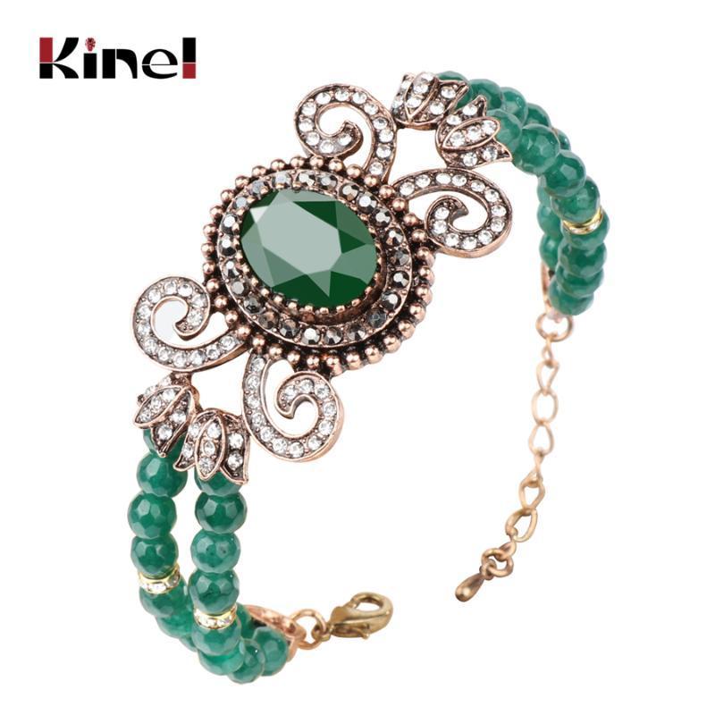 Kinel Quente Verde Natural Pedra Pulseiras Para As Mulheres Antique Cor Do Ouro Oco Cristal Flor Braceletes Vintage Jóias 2020 Novo