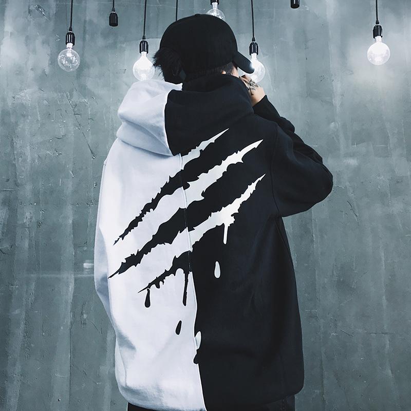E-baihui Black White Splice Hoodies Oversize Hip-hop Aqueça Estilo Ganhos Tyga Hoodie Outono Inverno Grosso Hoodies US Tamanho M-3XL
