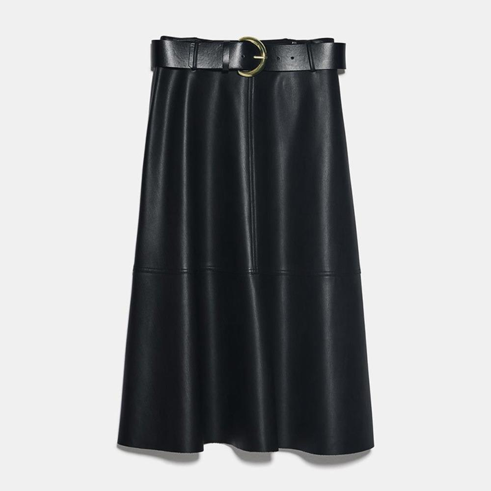 Neophil Vintage Mulheres Couro Midi Saias Pu Faux Inverno Moda Quente Sashes A-Linha Alta Cintura Flare Flare Skirt Longa Saia S9730 Q1219