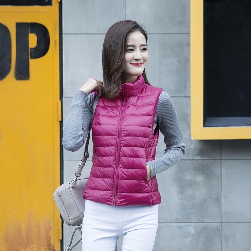 ZOGAA 2020 nuevo invierno 10 color de la luz blanca del pato abajo de la chaqueta femenina chaleco corto párrafo coreano delgado de gran tamaño sueltos abajo concede