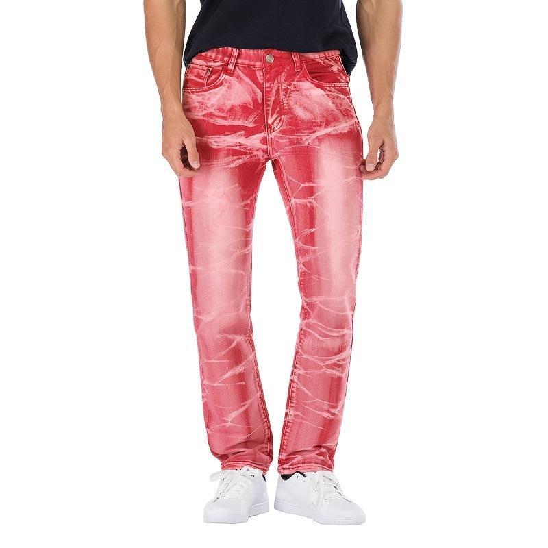 Rasgado Hip Rua 2020 dos homens azuis Red Outono Primavera Buracos Hop Punk jeans stretch bicicleta na moda retas Trouers Denim