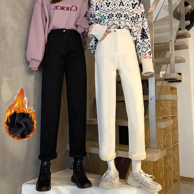Jeans de pelúcia e grosso para as mulheres usarem inverno coreano alto cintura magro pantsh7