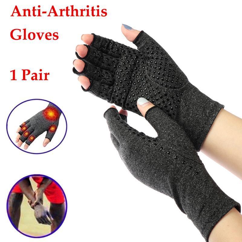 1 Pair Artrit Eldiven Sıkıştırma Ortak Parmak Ağrı Kazık El Bilek Desteği Brace Ortak Bakım Açık Bisiklet Spor Eldiven