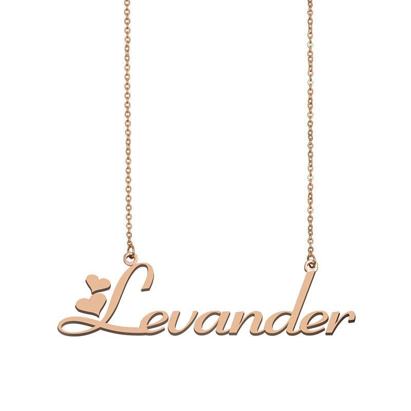 Levander Name Halsketten Anhänger Gewohnheit personalisiert Für Frauen Mädchen Kinder Beste Freunde Mütter Geschenke 18 Karat vergoldetem Edelstahl