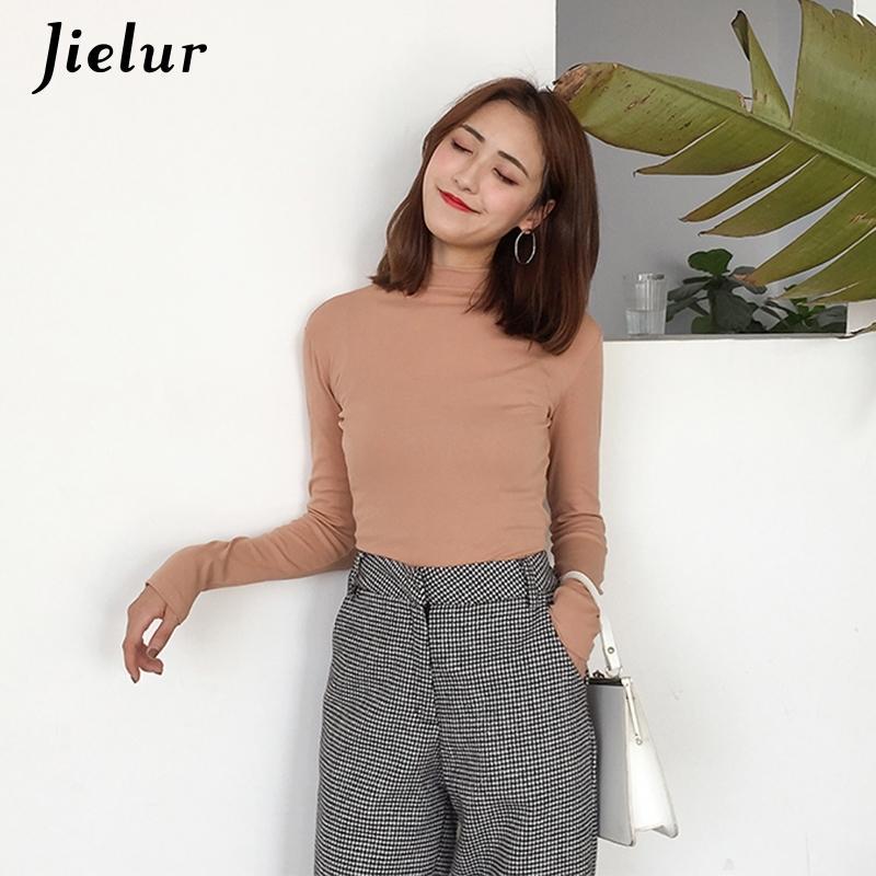 Jielur осень зима новая футболка женщины с длинным рукавом сплошной цвет Femme Slim T рубашка S-XXL 5 цветов базовые битники женские футболки T200110